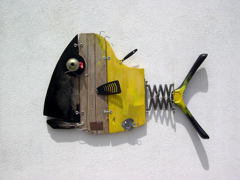 Strange marine creatures, ScoobaFish recycled art