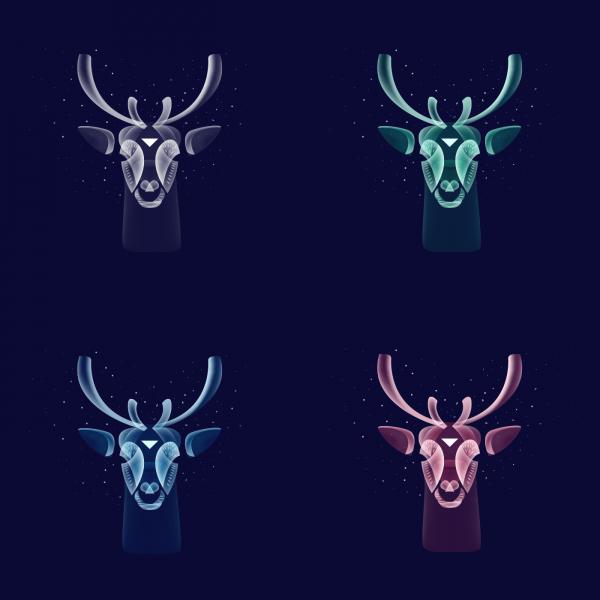 Fantasy Lights Reindeers, digital art by Ilya Shapko