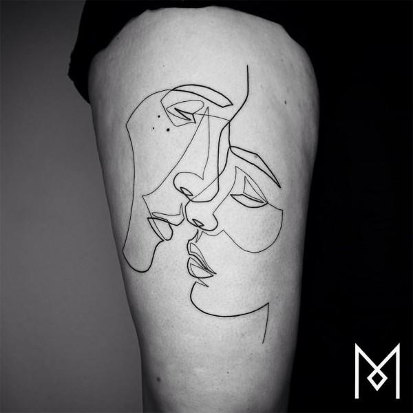Minimalistic one line tattoos by Mo Gangi