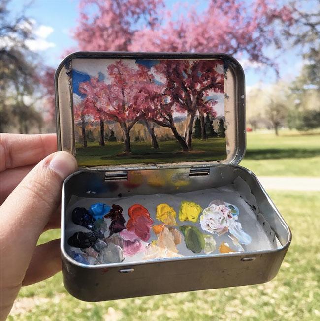 Heidi Annalise paints tiny masterpieces inside her empty Altoids tins