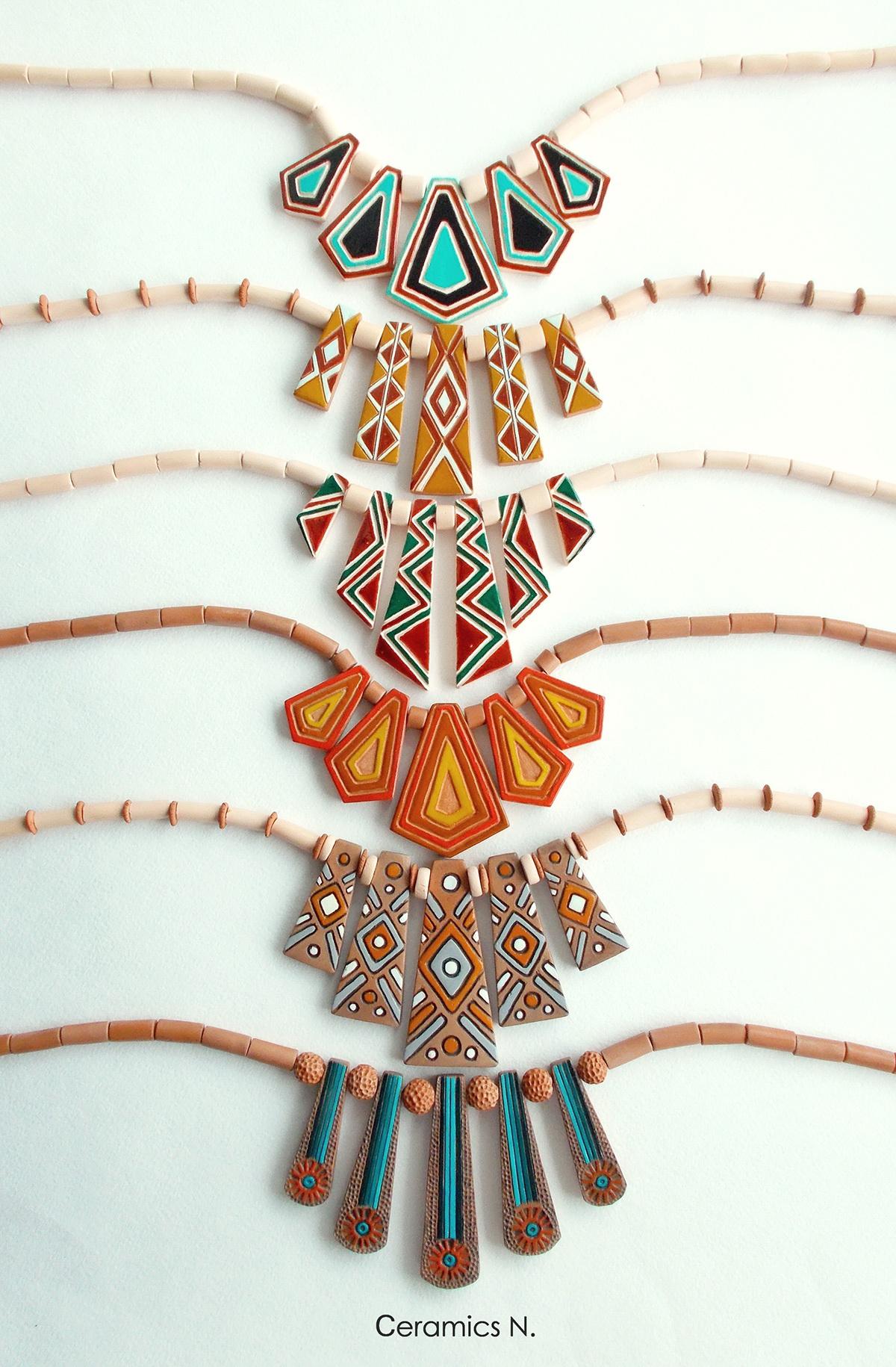 Ceramic necklases, jewelry design by Nadiia Ambroziak
