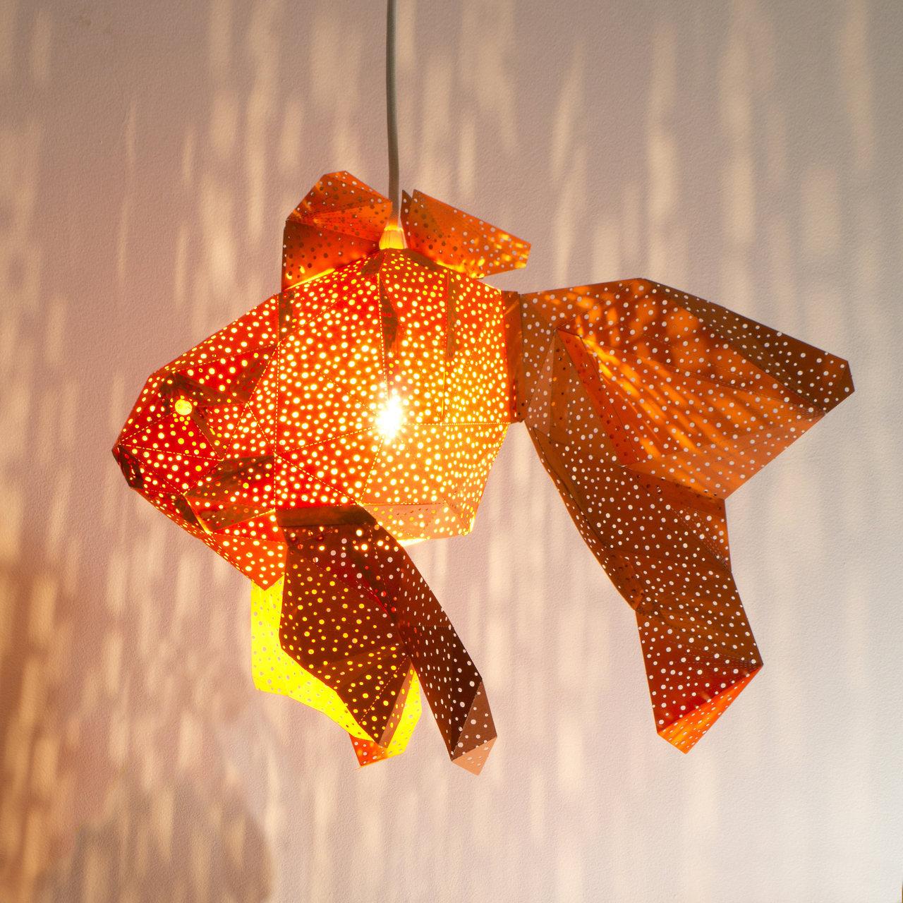 Papercraft light shades of aquatic life by Vasili
