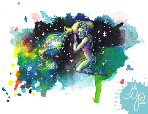 Zodiac Series - mixed media illustrations by Julia Y