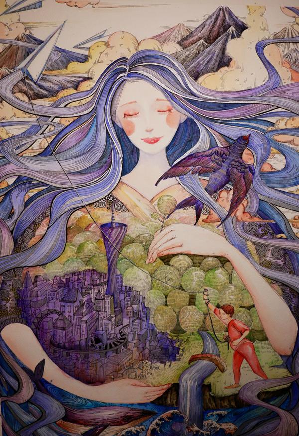Painting by Biying Zhou