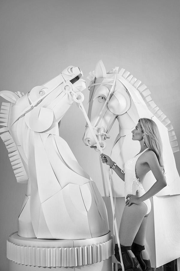 Paper chess horses by Asya Kozina