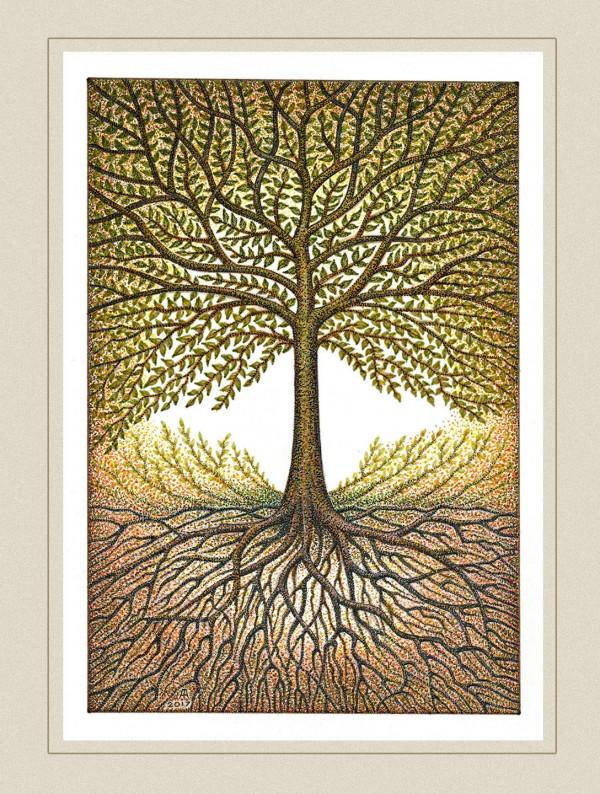 Blooming World Tree, illustration by Audris Šimakauskas