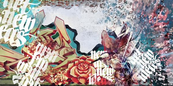 Graffiti in interior, illustration by Anna Karaban