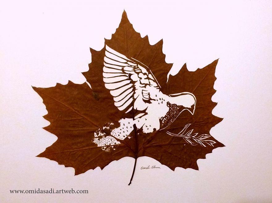 Omid Asadi, Leaf art by carefully cutting intricate scenes