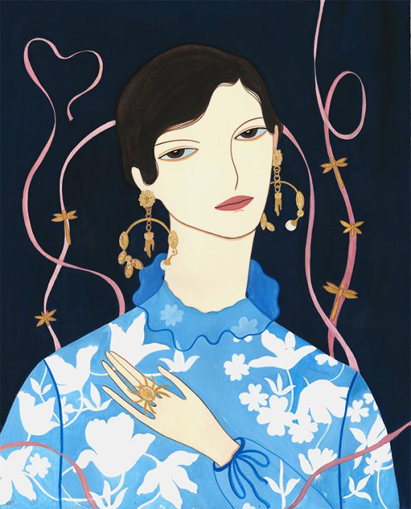 Portraits of girls, illustration by Chenxi Li