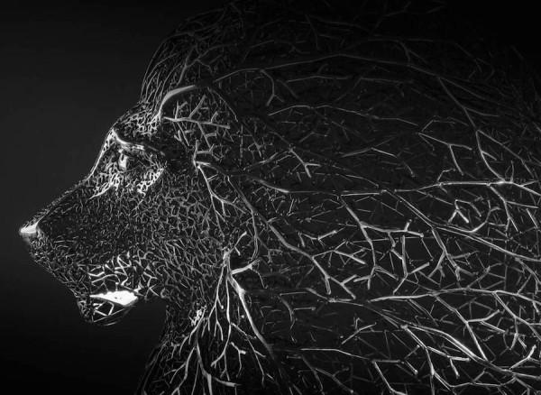 Surreal animal sculptures made of metallic branches by Kang Dong Hyun