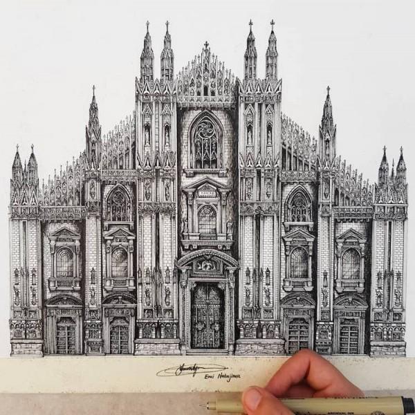 Emi Nakajima creates intricately detailed architectural drawings