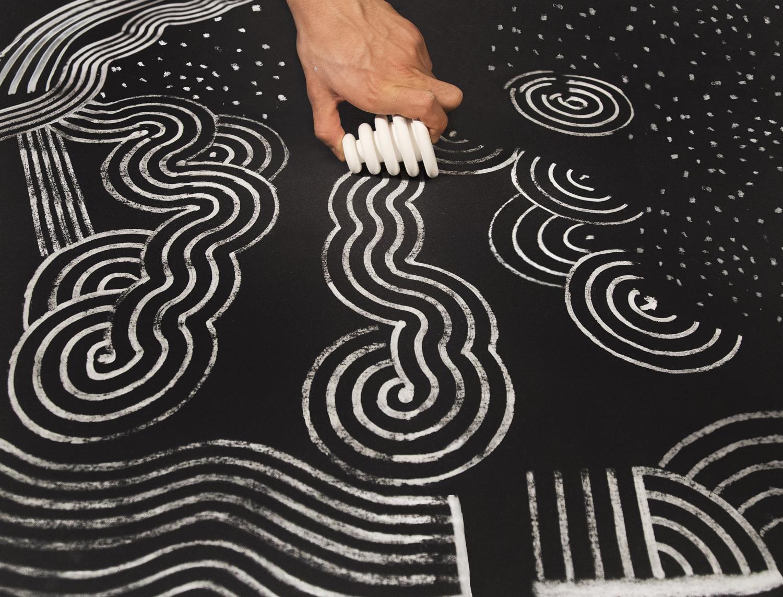 Sculptural chalk drawers by Nikolas Bentel