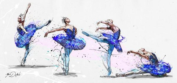 Blue Swan, painting by Yann Dalon