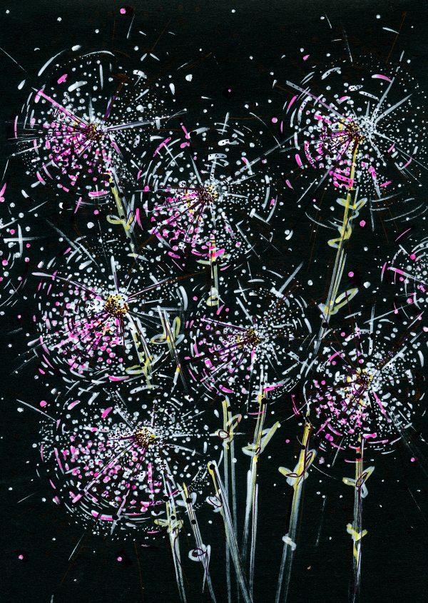 Dark flowers, illustration by Olga Okulich