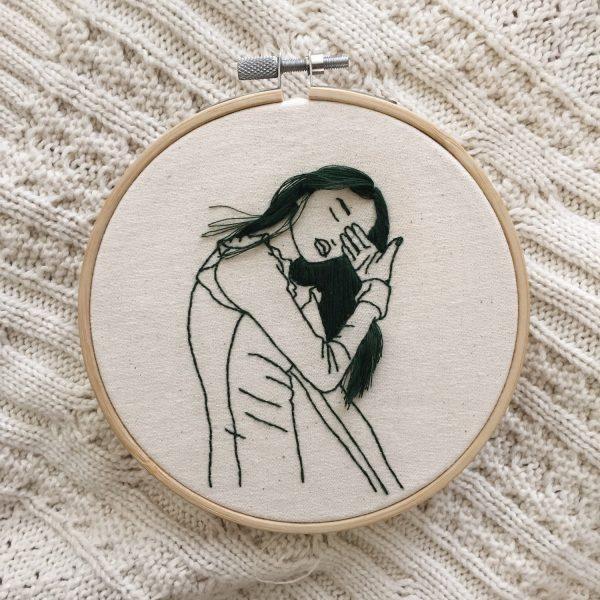Hand-sewn portraits by Sheena Liam