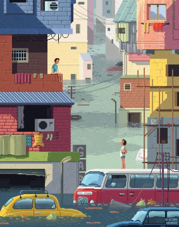 Pixel art paintings by Octavi Navarro