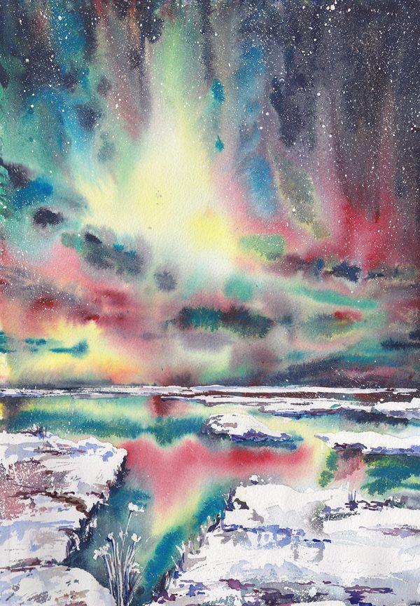Aurora borealis, illustration by Liubov Syrotiuk