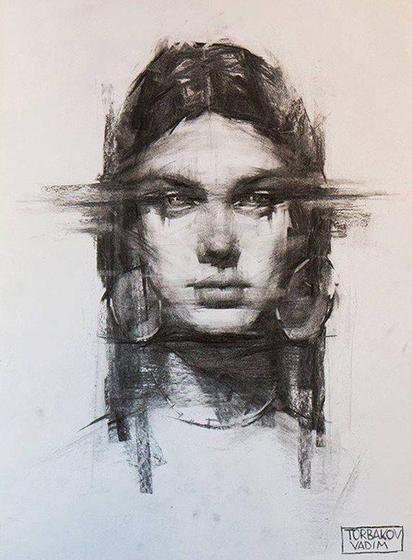 Expressive drawing portraits by Vadim Torbakov