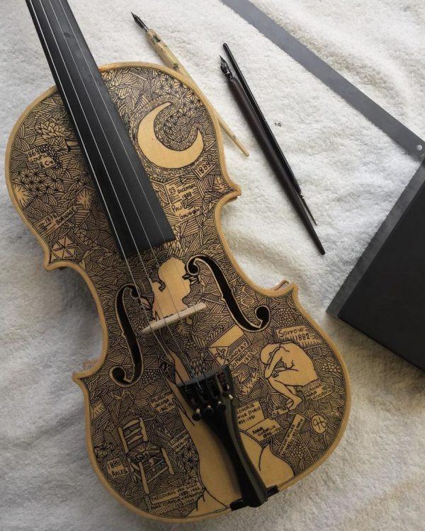 Leonardo Frigo, Biographies and stories hand-painted on musical instruments