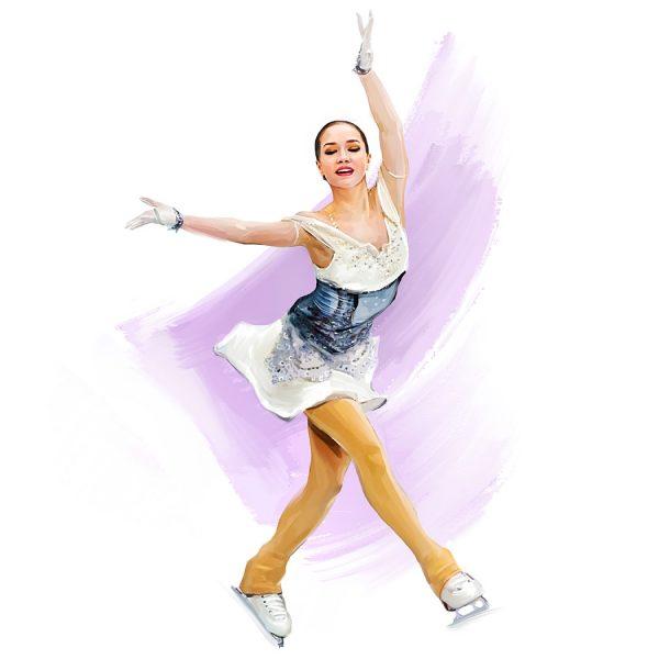 Russian figure skating ladies, digital art by Alexandra Tkachenko