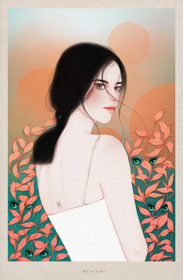 Beauty & Cat, illustration by Helen Xu