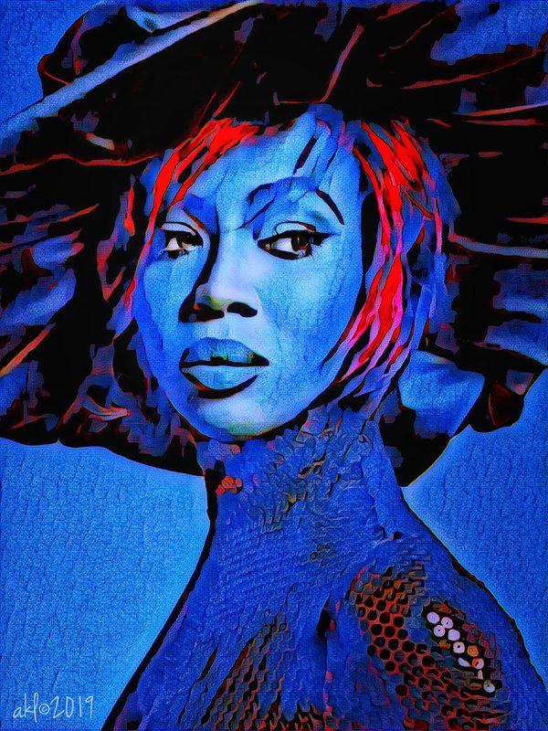 Studies in blue, black and red, digital art by Kris Peterson
