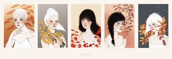 Autumn & beauty, illustration by Helen Xu