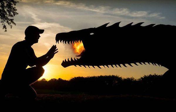 Sunset Selfies, whimsical silhouette art by John Marshall
